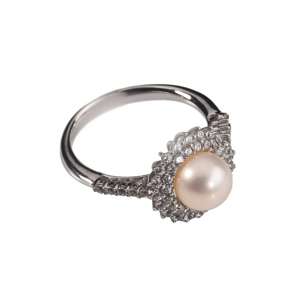 šperk Prsten bílé zlato s perlou